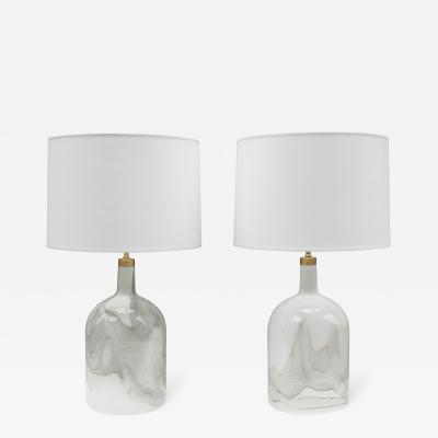 Michael Bang Pair of Michael Bang for Holmgaard Art Glass Table Lamps