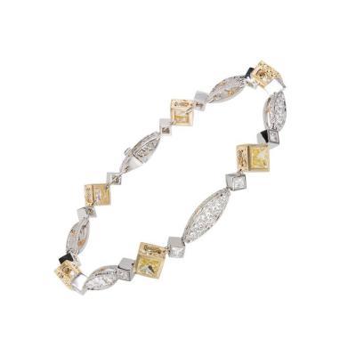 Michael Beaudry Natural Fancy Yellow Diamond Platinum Gold Bracelet