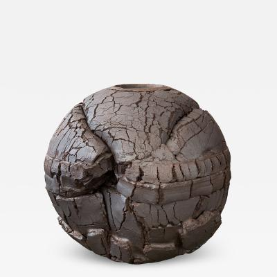 Michael Becker Monumental Stoneware Sphere Sculpture or Vessel by Michael Becker
