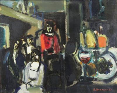 Michael Bonnaud Still Life painting on canvas Cafe Scene by Michael Bonnaud