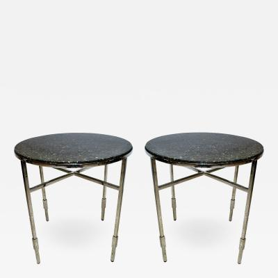 Michael Graves American Modern Polished Chrome Granite Occasional Tables Michael Graves