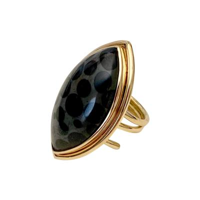 Michael Kneebone Black Spotted Fossilized Coral 18k Yellow Gold Spring Ring