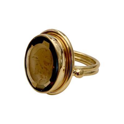 Michael Kneebone Cameo Cognac Quartz 18k Gold Archaic Style Ring