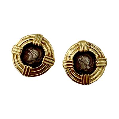 Michael Kneebone Michael Kneebone 18k Gold Roman Style Coin Button Earrings