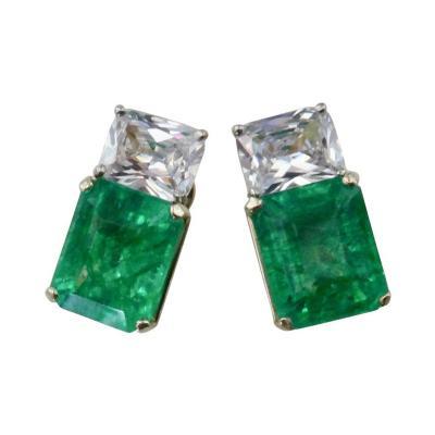 Michael Kneebone Michael Kneebone African Emerald White Sapphire Earrings