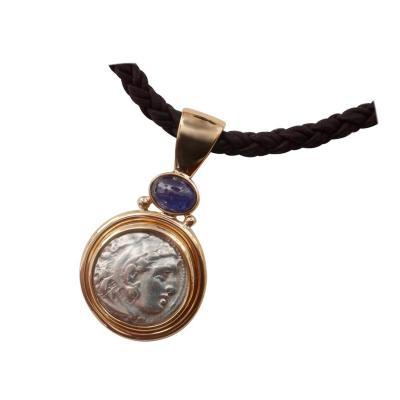 Michael Kneebone Michael Kneebone Alexander The Great Coin Blue Sapphire Pendant