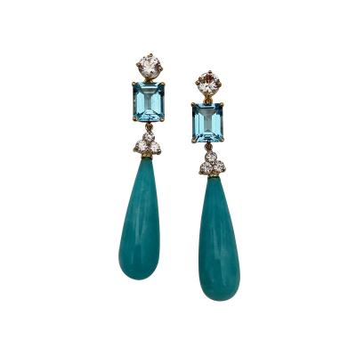 Michael Kneebone Michael Kneebone Amazonite Blue Topaz Diamond Sapphire Dangle Earrings