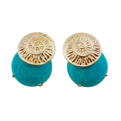 Michael Kneebone Michael Kneebone Amazonite Spiral Petroglyph Button Earrings