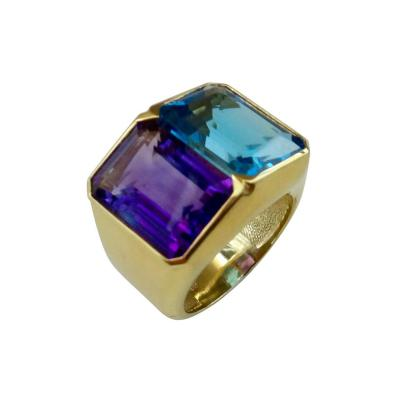 Michael Kneebone Michael Kneebone Amethyst Blue Topaz Due Pietra Cocktail Ring