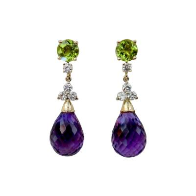 Michael Kneebone Michael Kneebone Amethyst Briolette Diamond Peridot Dangle Earrings