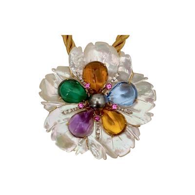 Michael Kneebone Michael Kneebone Amethyst Citrine Topaz Pink Sapphire Diamond Flower Pendant