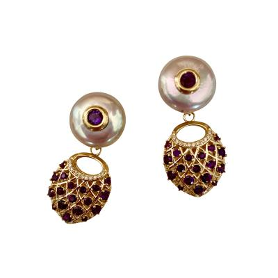 Michael Kneebone Michael Kneebone Amethyst Diamond Coin Pearl Basket Weave Dangle Earrings