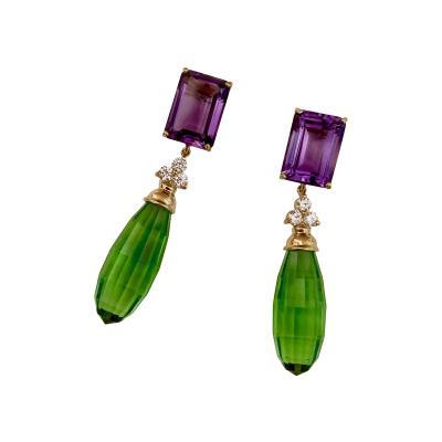 Michael Kneebone Michael Kneebone Amethyst Diamond Green Amethyst Dangle Earrings