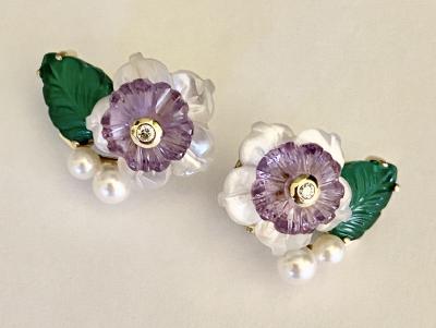Michael Kneebone Michael Kneebone Amethyst Diamond Pearl Green Onyx Flower Earrings