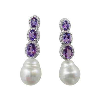 Michael Kneebone Michael Kneebone Amethyst Diamond South Seas Pearl Dangle Earrings