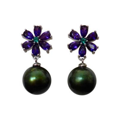 Michael Kneebone Michael Kneebone Amethyst Emerald Pistachio Tahitian Pearl Dangle Earrings