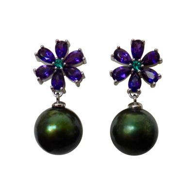 Michael Kneebone Michael Kneebone Amethyst Emerald Pistachio Tahitian Pearl Dangle Earrings