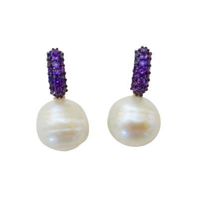 Michael Kneebone Michael Kneebone Amethyst Pave Paspaley South Pearl Huggie Earrings