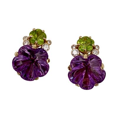 Michael Kneebone Michael Kneebone Amethyst Peridot Diamond Carved Flower Button Earrings