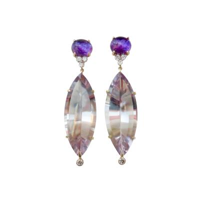 Michael Kneebone Michael Kneebone Amethyst White Diamond Fantasy Cut Dangle Earrings