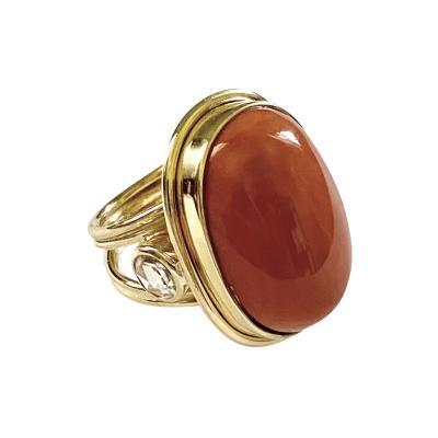 Michael Kneebone Michael Kneebone Angel Skin Coral Rose Cut Diamond Archaic Style Ring