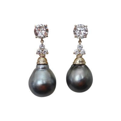 Michael Kneebone Michael Kneebone Baroque Tahitian Pearl Sapphire Diamond Dangle Earrings