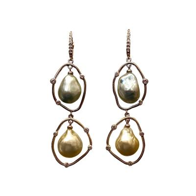 Michael Kneebone Michael Kneebone Baroque Tahitian Pearl South Seas Pearl Diamond Dangle Earrings