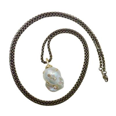 Michael Kneebone Michael Kneebone Baroque White Pearl Diamond 18 Karat Gold Titanium Pendant