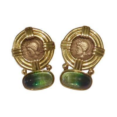 Michael Kneebone Michael Kneebone Bicolor Tourmaline Gold Coin Earrings
