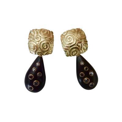 Michael Kneebone Michael Kneebone Black Diamond Ebony 18k Gold Petroglyph Dangle Earrings