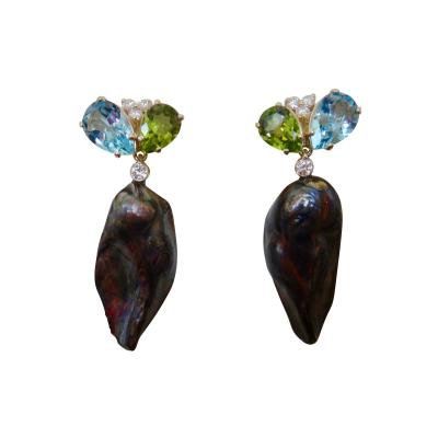 Michael Kneebone Michael Kneebone Black Keshi Pearl Topaz Peridot Diamond Dangle Earrings