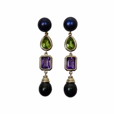 Michael Kneebone Michael Kneebone Black Pearl Peridot Amethyst Dangle Earrings