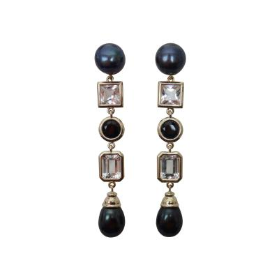 Michael Kneebone Michael Kneebone Black Pearl White Topaz Black Spinel Dangle Earrings