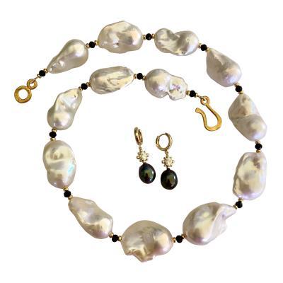 Michael Kneebone Michael Kneebone Black White Pearl Necklace Earring Suite