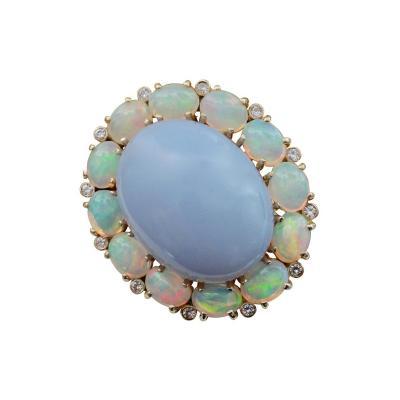 Michael Kneebone Michael Kneebone Blue Chalcedony Ethiopian Opal Diamond Cocktail Ring