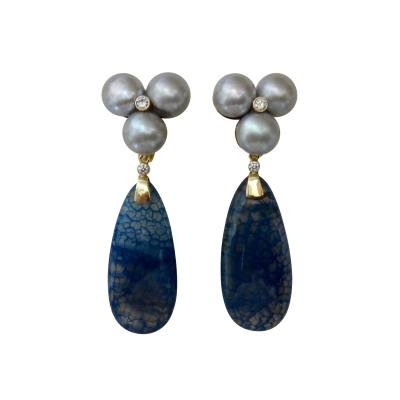 Michael Kneebone Michael Kneebone Blue Dragons Skin Agate Pearl Diamond Dangle Earrings