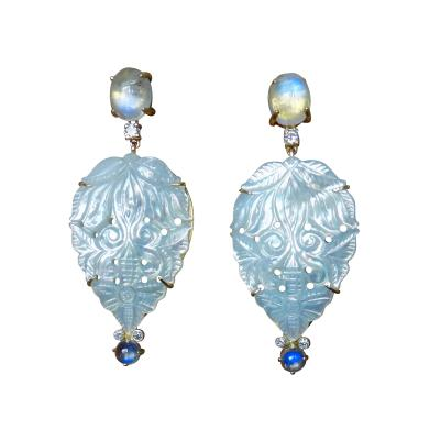 Michael Kneebone Michael Kneebone Blue Flash Moonstone Carved Mother of Pearl Dangle Earrings