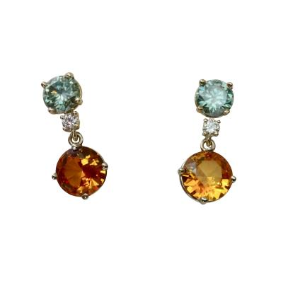 Michael Kneebone Michael Kneebone Blue Green Zircon White Diamond Citrine Dangle Earrings