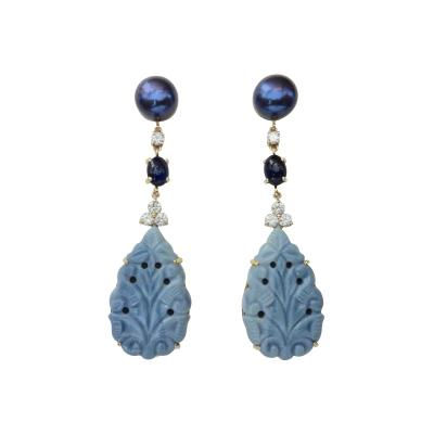 Michael Kneebone Michael Kneebone Blue Opal Sapphire Diamond Black Pearl Dangle Earrings