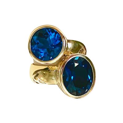 Michael Kneebone Michael Kneebone Blue Topaz 18k Gold Stacking Leah Rings