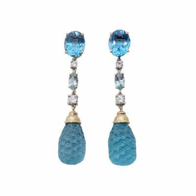 Michael Kneebone Michael Kneebone Blue Topaz Carved Briolette Aquamarine Diamond Dangle Earrings
