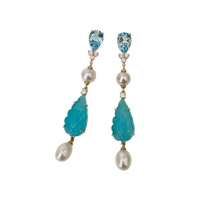 Michael Kneebone Michael Kneebone Blue Topaz Diamond Akoya Pearl Blue Chalcedony Dangle Earrings