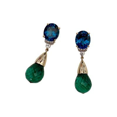 Michael Kneebone Michael Kneebone Blue Topaz Diamond Green Amethyst Dangle Earrings