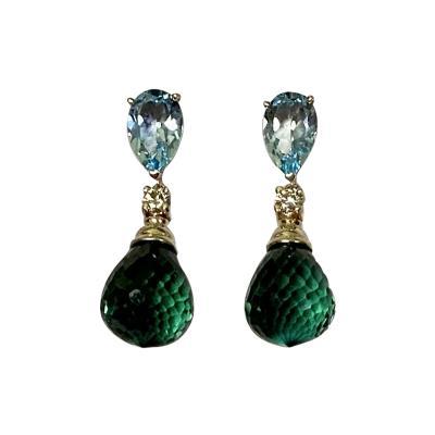 Michael Kneebone Michael Kneebone Blue Topaz Diamond Green Quartz Dangle Earrings