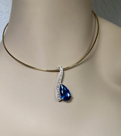 Michael Kneebone Michael Kneebone Blue Topaz Pave Diamond Wavy Pendant