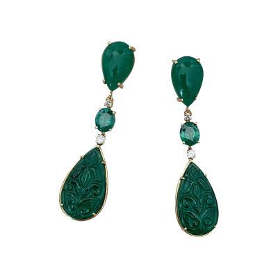 Michael Kneebone Michael Kneebone Botswana Agate Green Topaz Diamond Green Onyx Dangle Earrings