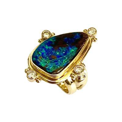 Michael Kneebone Michael Kneebone Boulder Opal Diamond Archaic Style Ring