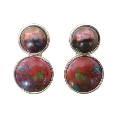 Michael Kneebone Michael Kneebone Bronze Mobe Pearl Red Jasper Pink Gold Drop Earrings