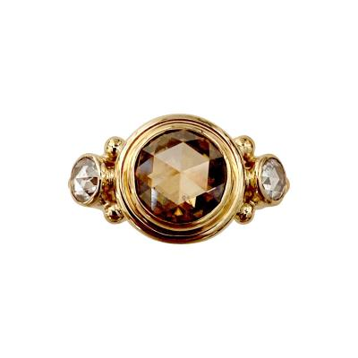 Michael Kneebone Michael Kneebone Burmese Zircon Rose Cut Diamond Archaic Style Cocktail Ring