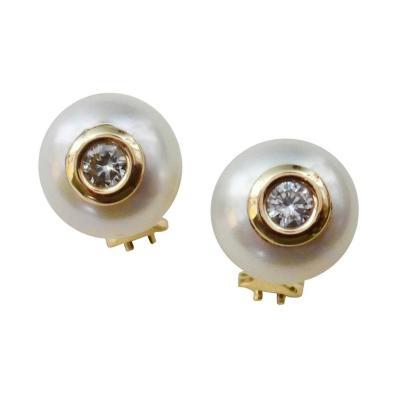 Michael Kneebone Michael Kneebone Button Pearl White Diamond Stud Earrings